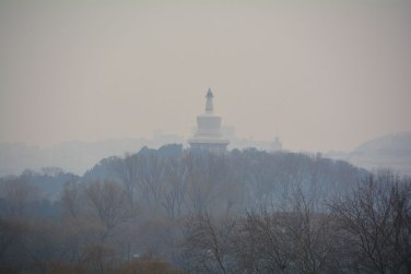 Mongolian temple through smog in Beijing