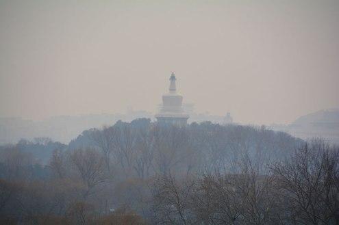 Mongolian temple through smog in Beijing