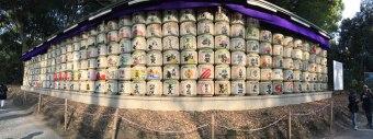 straw-wrapped sake barrels at Meiji Shrine