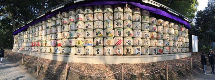 straw-wrapped sake barrels at Meiji Shrine