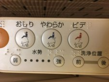 close-up of toilet buttons