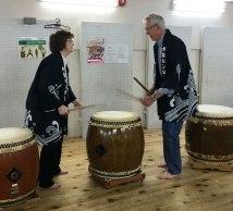 Taiko drum lesson, Kyoto