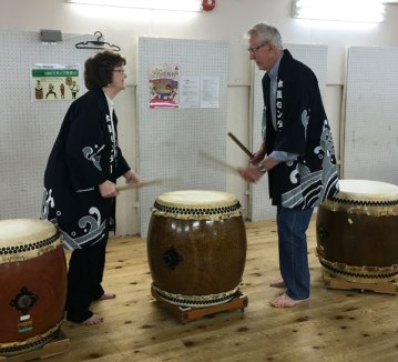 Taiko drum lesson, Kyoto