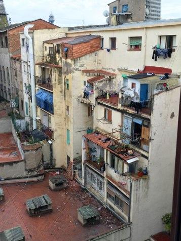contrast: view out of back window, Palau Güell, Barcelona