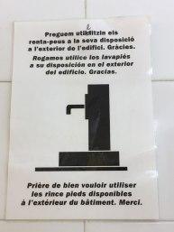 in bathroom of highway rest area