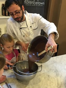 straining chocolate