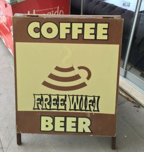 love the graphic combining coffee and wi-fi, Kusadasi, Turkey