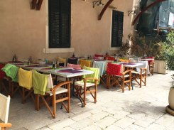 outdoor seating with blankets, Dubrovnik, Croatia