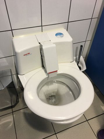 "after you flush, a sanitizing ""arm"" sprays the seat as it rotates"