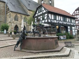 """sculpture commemorating """"The Wolf and the Seven Little Kids"""" Grimm fairy tale, Wolfhagen"""