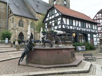 "sculpture commemorating ""The Wolf and the Seven Little Kids"" Grimm fairy tale, Wolfhagen"