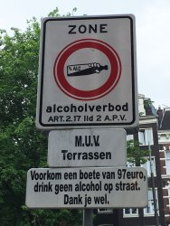 97 euro fine for drinking outside in this area, Amsterdam