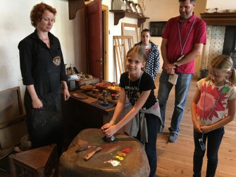 mixing paint at Rembrandt's house