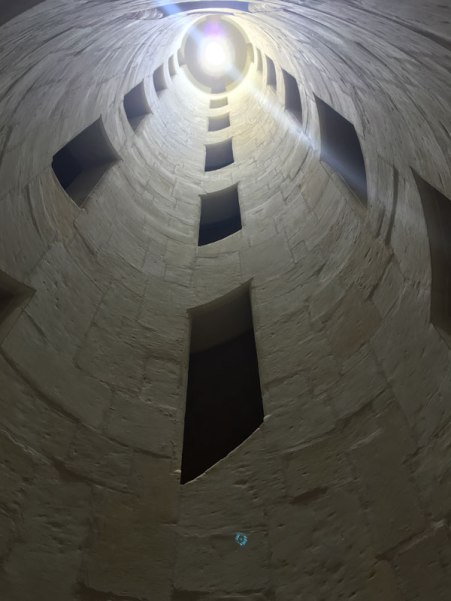 center of double-helix staircase, Chambered