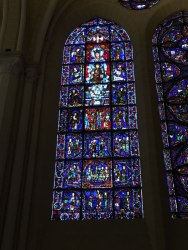12th century stained glass in cathedral of Chartres