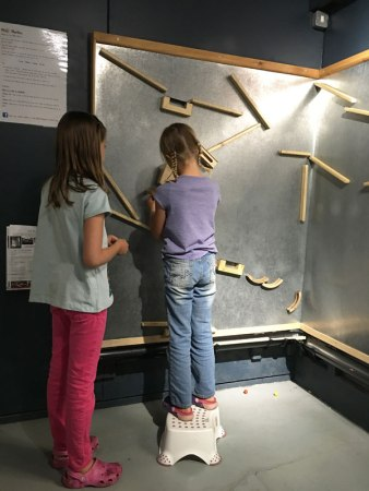 working on marble run, Mechanical Art and Design Museum, Stratford-upon-Avon