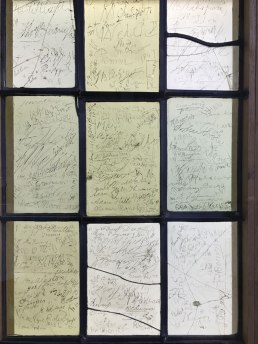 window with graffiti in the birthplace of Shakespeare, Stratford-upon-Avon