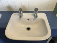 really annoying sink with one faucet for hot water and another for cold in many places in England